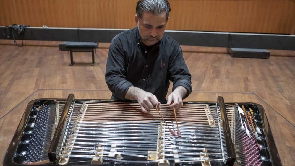 Miklós Lukács played the first tunes on this brand new cimbalom
